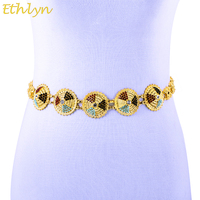Ethlyn Saudi Arabia Ethiopian Middle East Female Party Yellow Gold Plated Waist Chain Belt With Crystal
