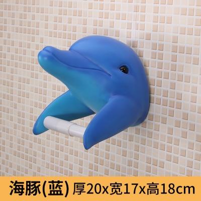 Держатель для полотенец для ванной комнаты Акула дельфины держатель для туалетной бумаги водонепроницаемый настенный креативный персональный тканевый ящик - Цвет: Синий