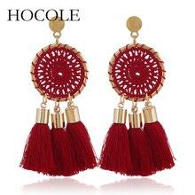 HOCOLE New Bohemian 5 Color Long Tassel Earrings Fashion Nets Weaving Fringed Statement Drop Dangle For Women Oorbellen