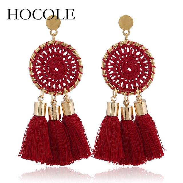 HOCOLE New Bohemian 5 Color Long Tassel Earrings Fashion Nets Weaving Fringed Statement Drop Dangle Earrings For Women Oorbellen