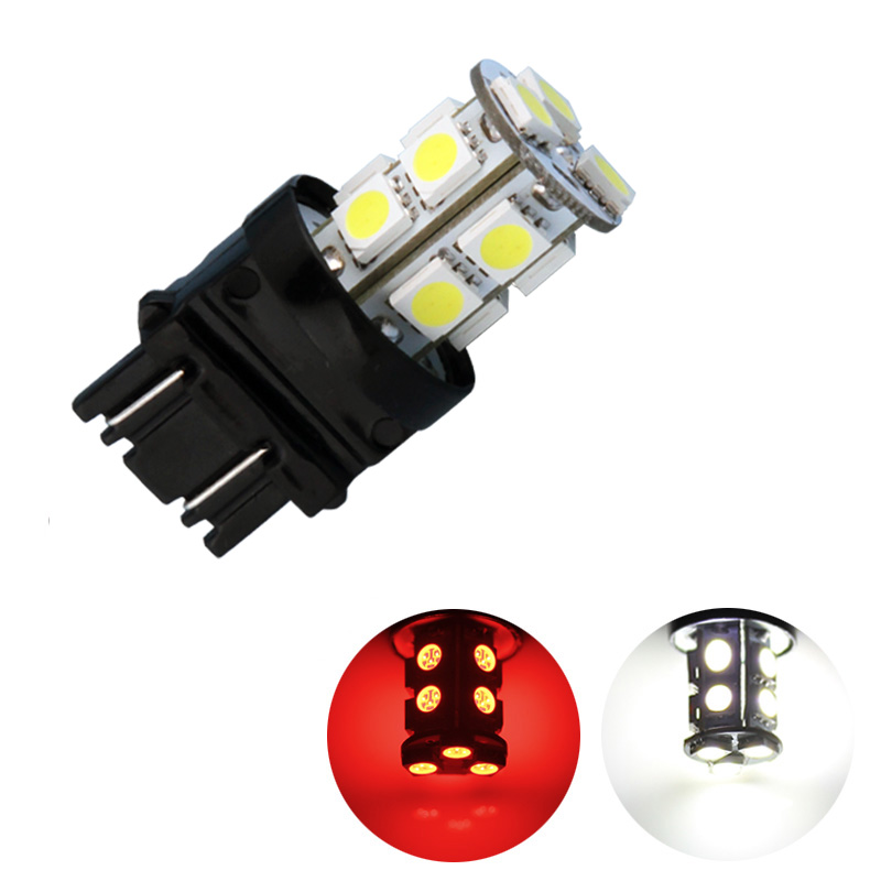 3156 3157 Red,White 13 SMD 5050 LED Car Bulbs Lamp Auto p27/7w led Car Light Source parking 12V Front rear brake Lights 3157 3156 60w 600lm 6500k 12 smd white light led steering brake light for car dc12 24v