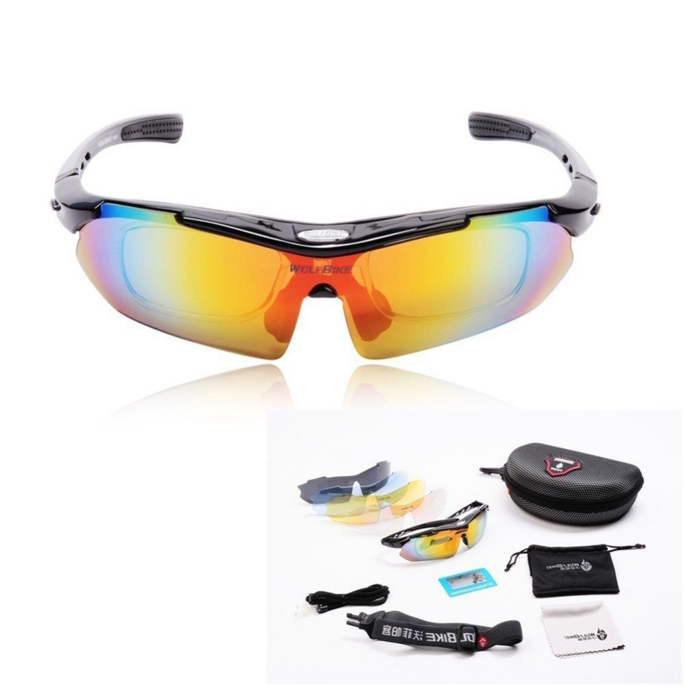 WOLFBIKE Men Women Professional Polarized Cycling Glasses Bike Motocross Bicycle Sunglasses UV 400 With 5 Lens 5 color
