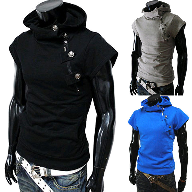 Fashion Korean Summer Slim Fit Hoodie Zipper Casual Short Sleeves Outwear