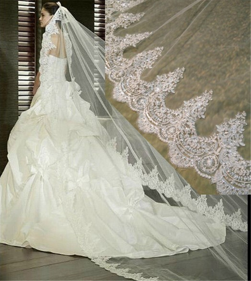 3 metrų baltojo Dramblio Kaulo Katedros Vestuvių Veilės Ilgi nėrinių kraštai Nuotakos veilė su šukomis Vestuvių aksesuarai Nuotakos vestuvių užuolaidos
