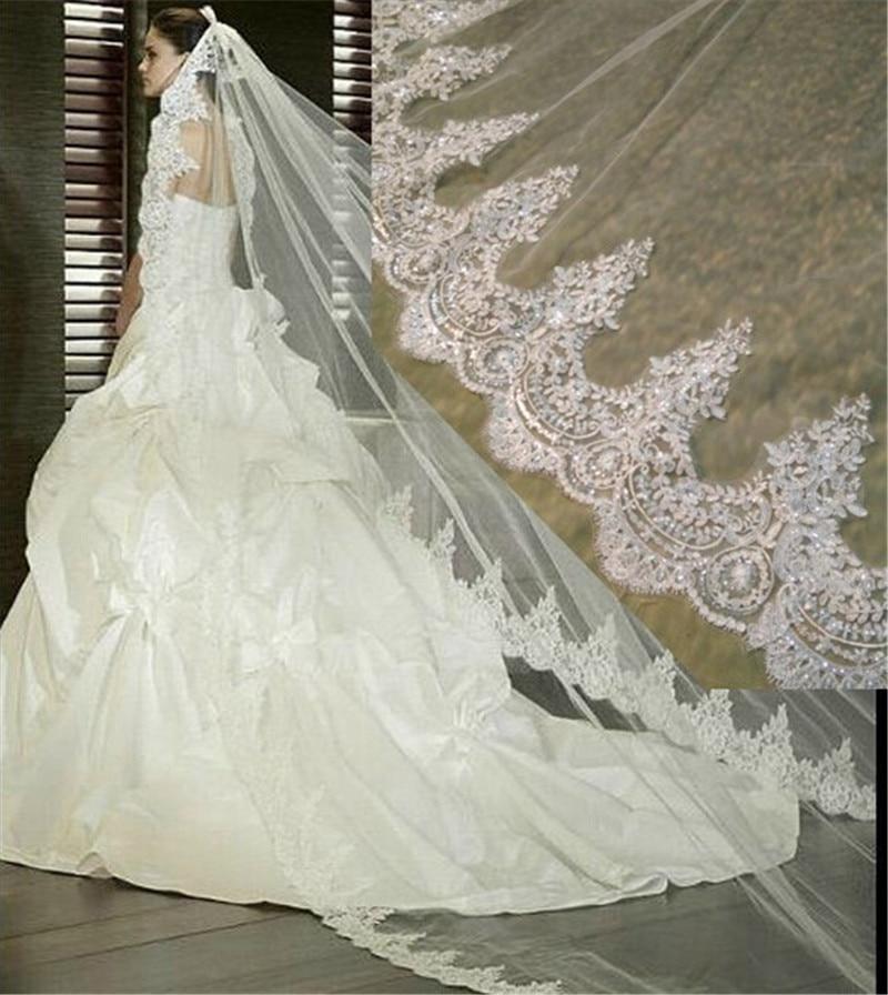3 Meter White Catedrala din Ivory Wedding Veils Lace Lace Edge Bridal Veil cu accesorii de nunta pieptene Mireasa Wedding Veil