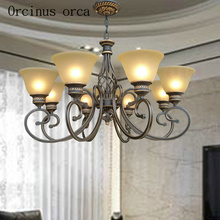 American style antique glass chandelier living room bedroom European luxury classic all copper free shipping