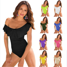 Solid One Piece Swimsuit 2019 Sexy Off The Shoulder Swimwear Women's Push Up Leotard Black Red Ruffle Swimsuit Bathing Suit Wear