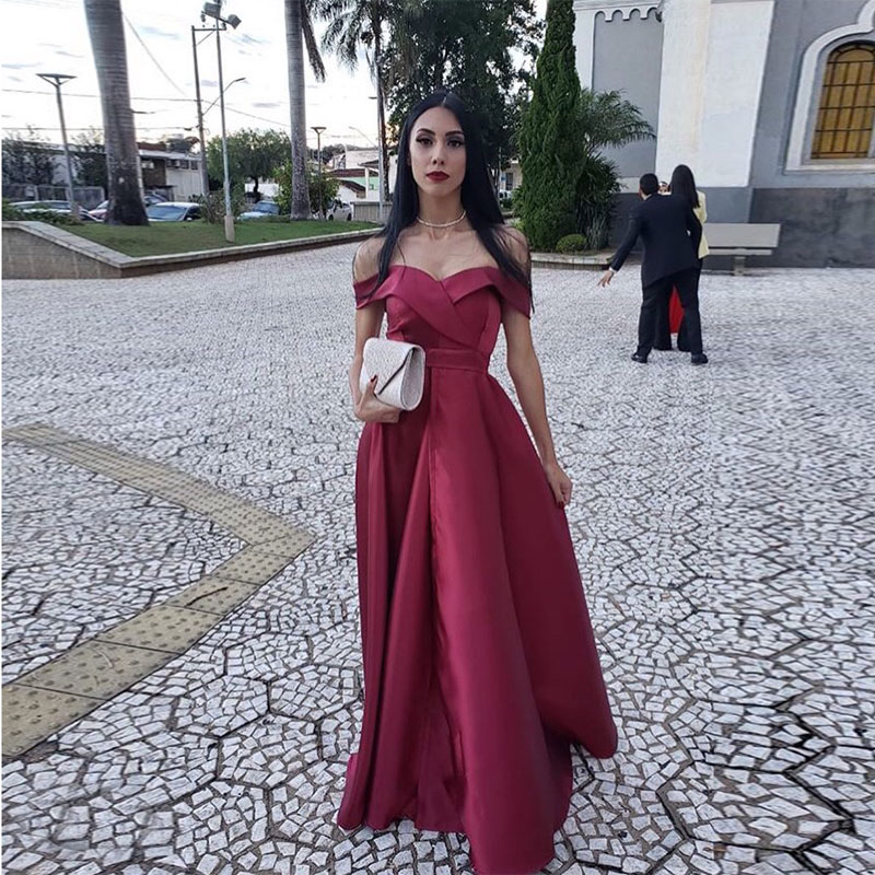 Off The Shoulder Burgundy Satin   Prom     Dresses   A-line Vestido De Noite Simple Long   Prom   Gowns 2019 New Women Formal Party   Dresses