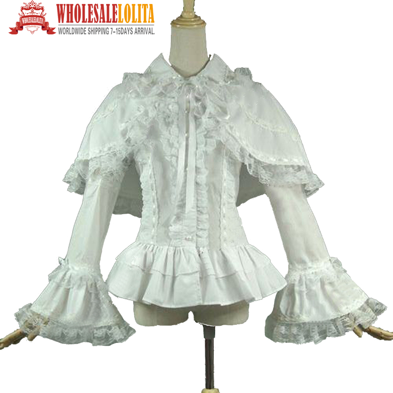 White Ruffle Victorian Blouse 114