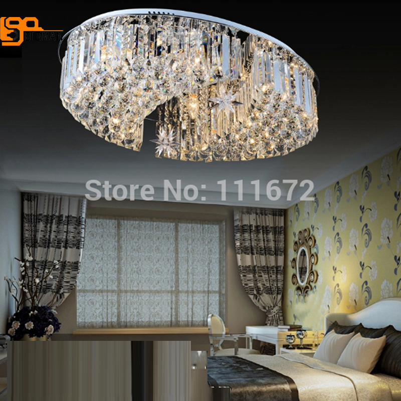 Free shipping New Modern oval Crystal Ceiling Lights Fixtures lighting length 80cm living room lamp