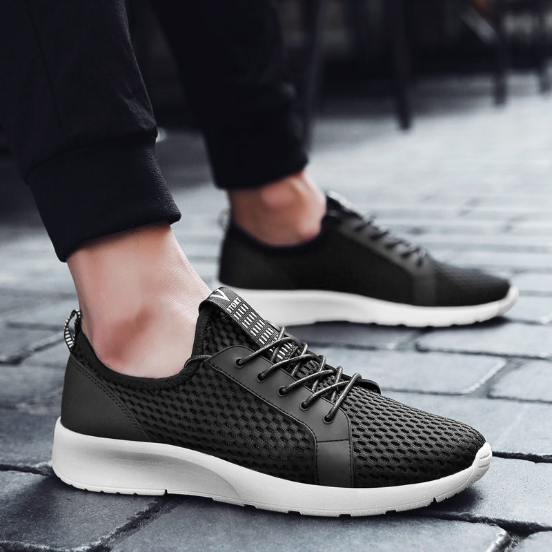 PINSV Summer Shoes Men Breathable Running Shoes Sneakers Men Sport Shoes Krasovki Men Sneakers Black Zapatillas Hombre Deportiva
