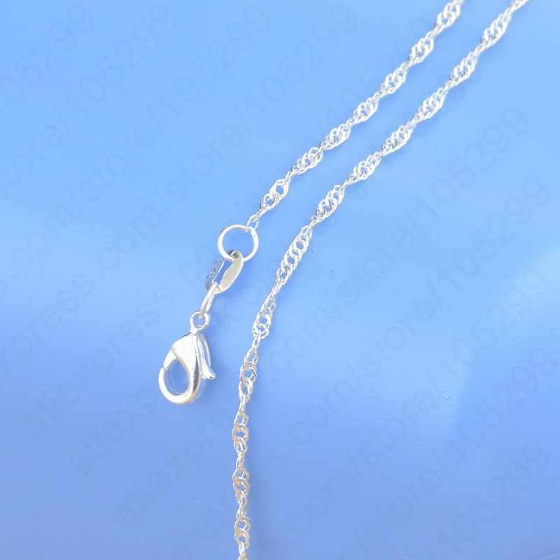 """Envío Gratis, collar de plata de ley 925 auténtica de alta calidad con ondas de agua de Singapur, cadenas con cierres de langosta de 16 """"-30"""""""
