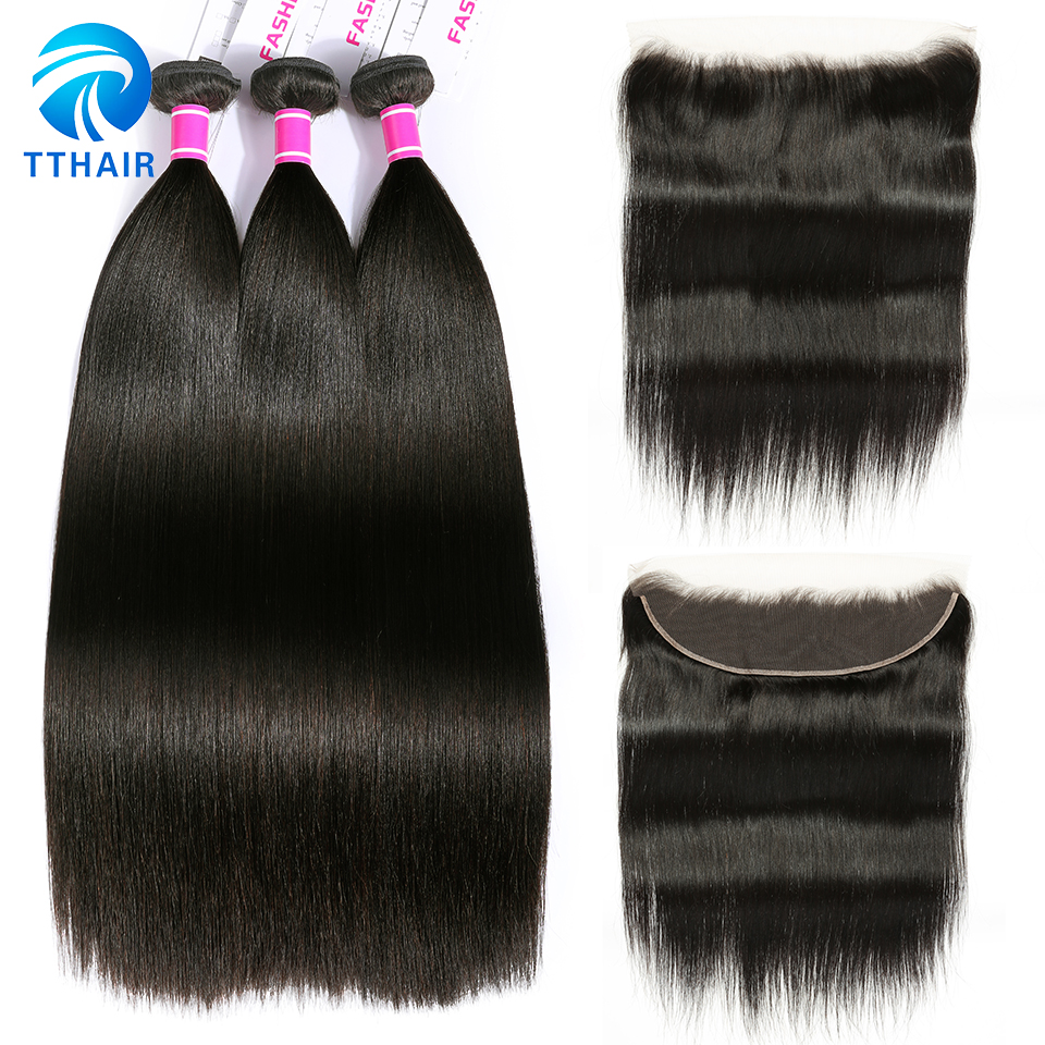 Straight Hair Bundles With Frontal TTHAIR Brazilian Hair Weave Bundles Remy Human Hair Bundles With Frontal