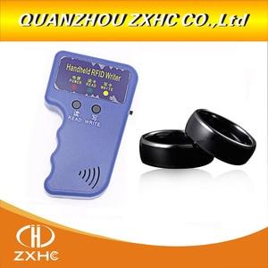 Image 2 - Handheld 125 KHz EM4100 RFID Copier Writer Duplicator Programmatore Reader + ID125Khz RFID Nero Ceramica Smart Anello di Barretta di Usura