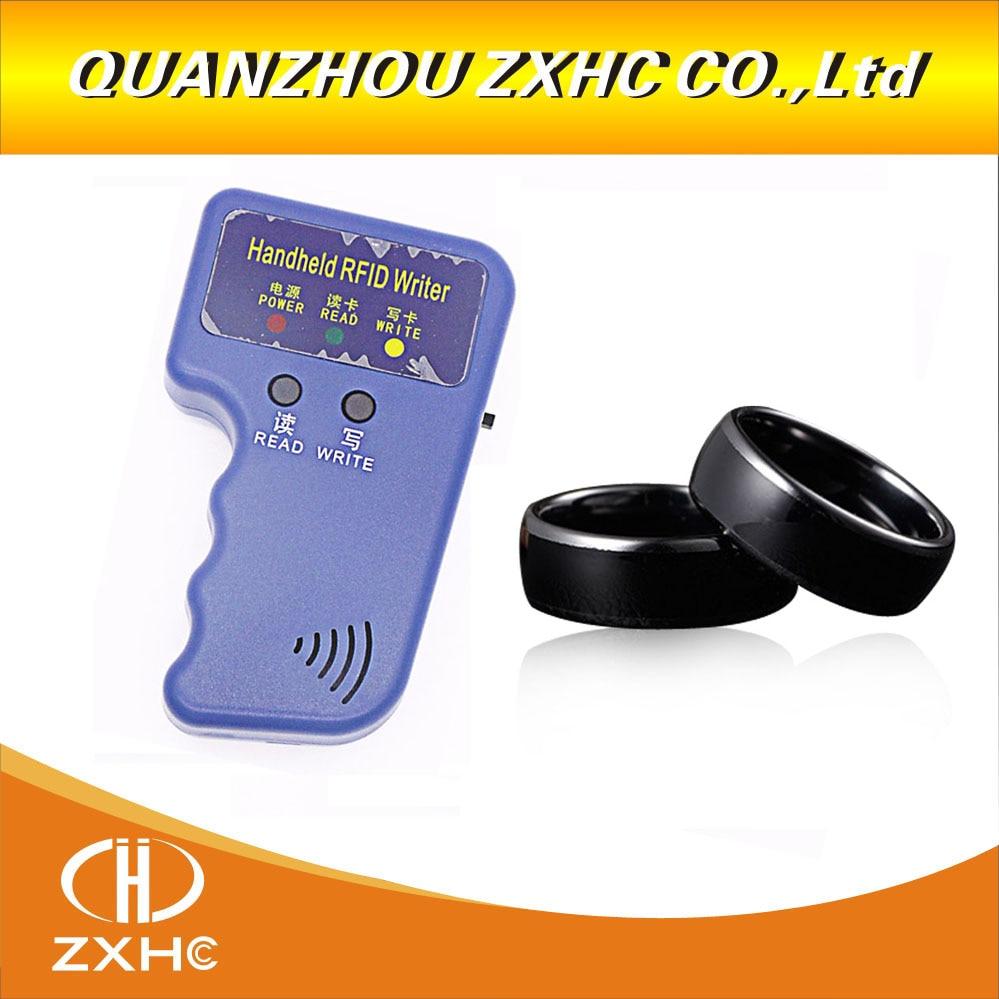Image 2 - Handheld 125KHz EM4100 RFID Copier Writer Duplicator Programmer Reader +ID125Khz RFID Black Ceramics Smart Finger Ring Wear-in Access Control Cards from Security & Protection