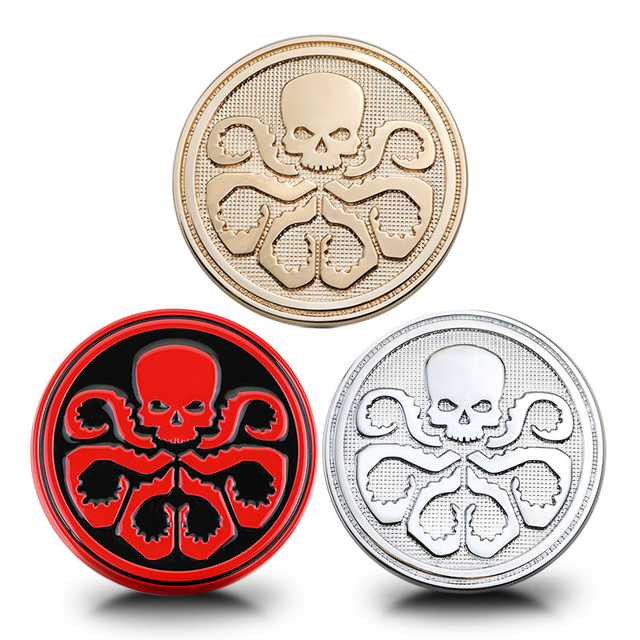 7cm round red skull hydra battle world totem badge chrome metal zinc car styling 3d sticker