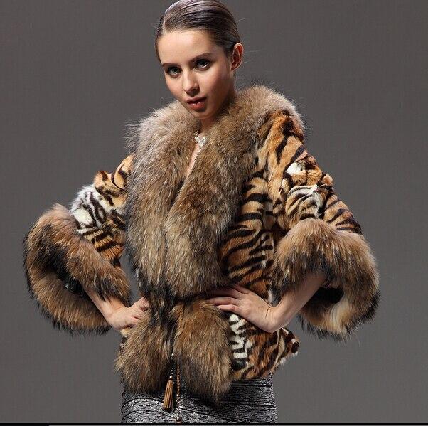 a898bf36f New Natural Raccoon Fur Coats Genuine Fur Jackets Women's Whole Real Rex Rabbit  Furs Outerwear Tiger Stripes Cape Plus Size Vest