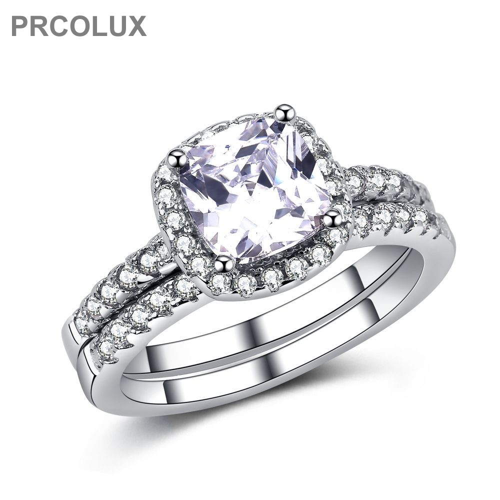 Prcolux Fashion Female Girls Round Ring Set 925 Sterling Silver Jewelry  White Cz Wedding Engagement Rings For Women Gifts Qfa18