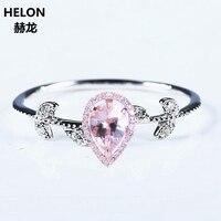 Solid 14 к белое золото розовое золото природных алмазов 5X7 мм Груша морганитное кольцо Свадебные украшения для помолвки