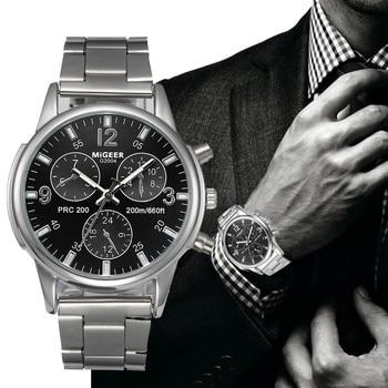 Classic Geneva Silver Fashion Men Watch Crystal Glass Stainless Steel Analog Quartz Wrist Watch Bracelet Man Gift Clock Reloje#S