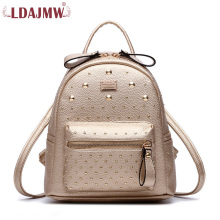 LDAJMW Women Backpacks PU Leather Backpack Fashion Rivet School Bags Small Mochila Feminin