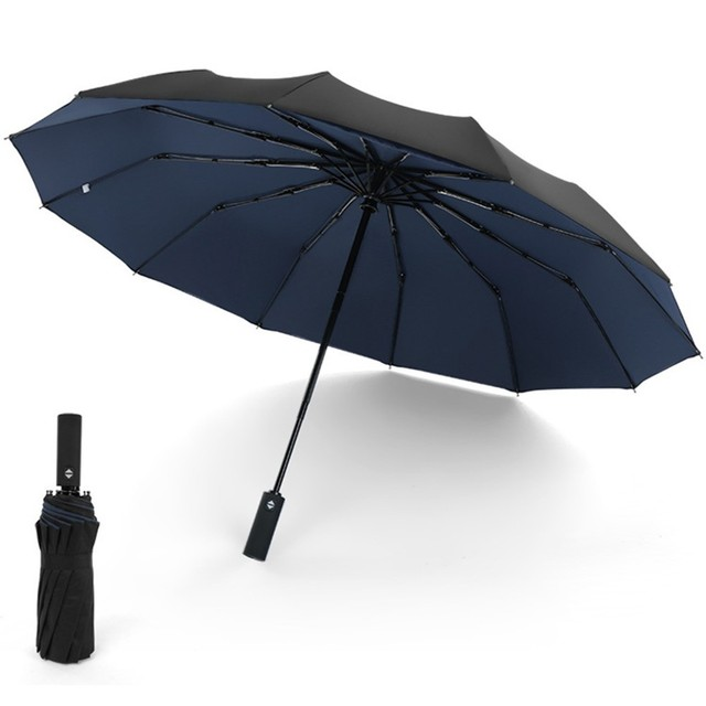 Otomatik Açık Yakın Şemsiye 12K Takviyeli Çift Kat Rüzgar Geçirmez Otomatik Katlanır Şemsiye Büyük Siyah Şemsiye Iş Için