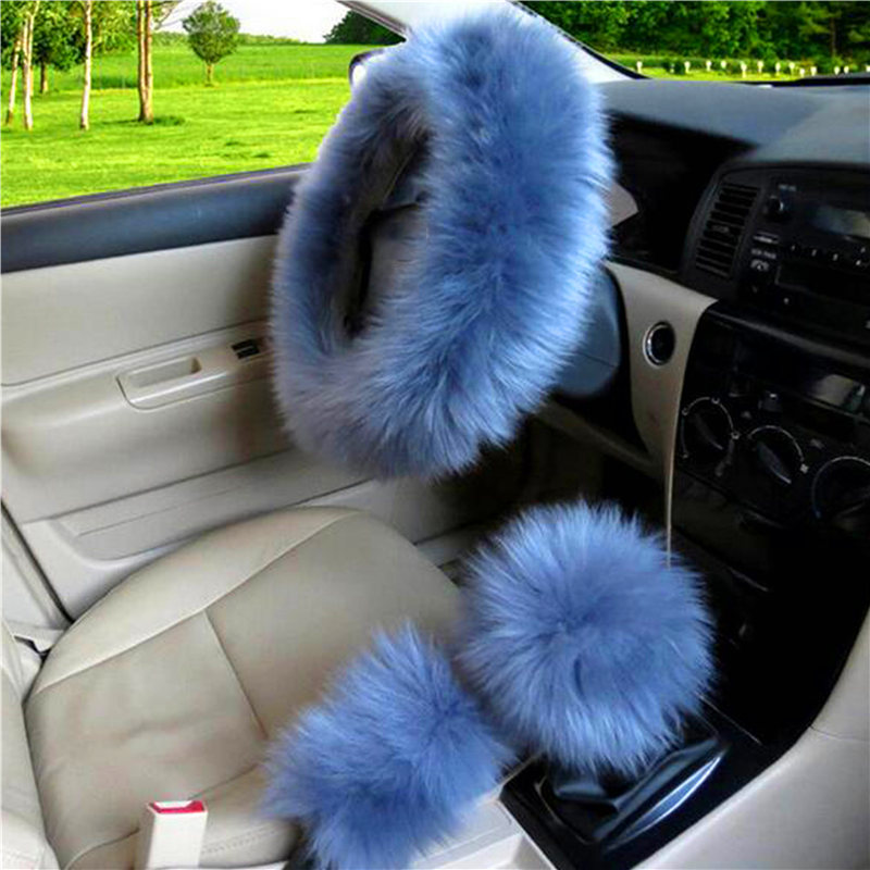 3pcs Set Fur Car Steering Wheel Cover Gray Blue Color Wool Winter Essential Universal Furry Fluffy Thick Faux Three Season In Automobiles Seat Covers From