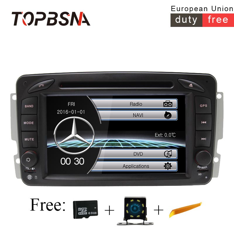 TOPBSNA 7 inch 2 DIN Car Multimedia Player For Mercedes Benz CLK W209 W203 W168 W208 W463 W170 Vaneo Viano Vito Car DVD Player 380mm car steer wheel cover for mercedes benz w463 w169 w251 w164 w219 w209 w230 slk clk slr carbon fiber