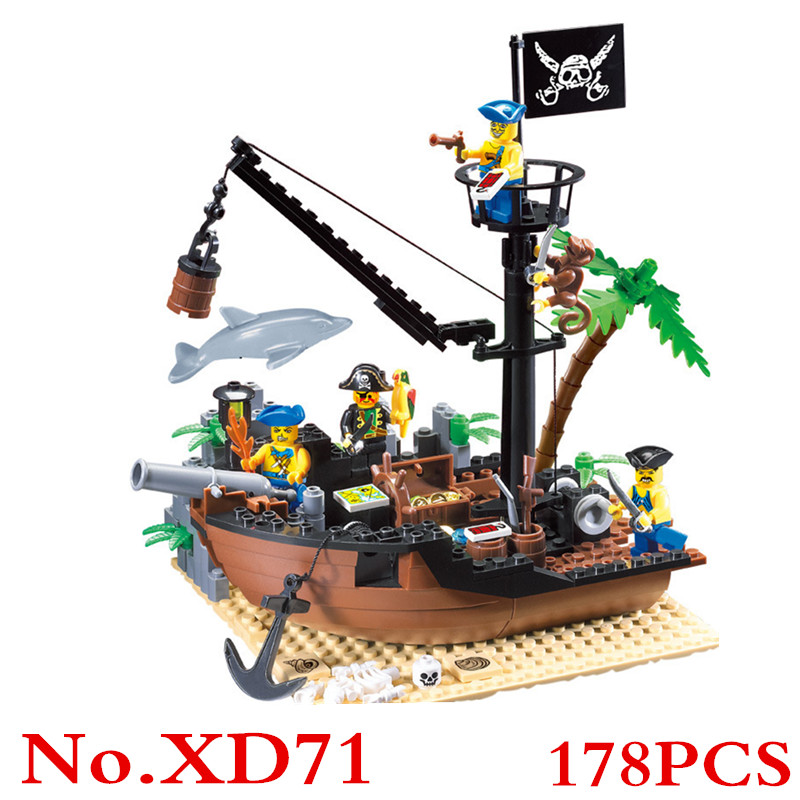 Pirate Ship Scrap Dock Building Blocks Pirates of the Caribbean Construction Bricks Compatible With Christmas Gift XD71