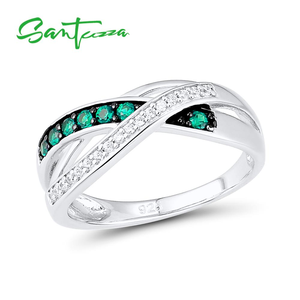 SANTUZZA Silver Rings For Women 925 Sterling Silver Natural Green Stones Rings for Girls ladies Party Fashion Jewelry Детская кроватка