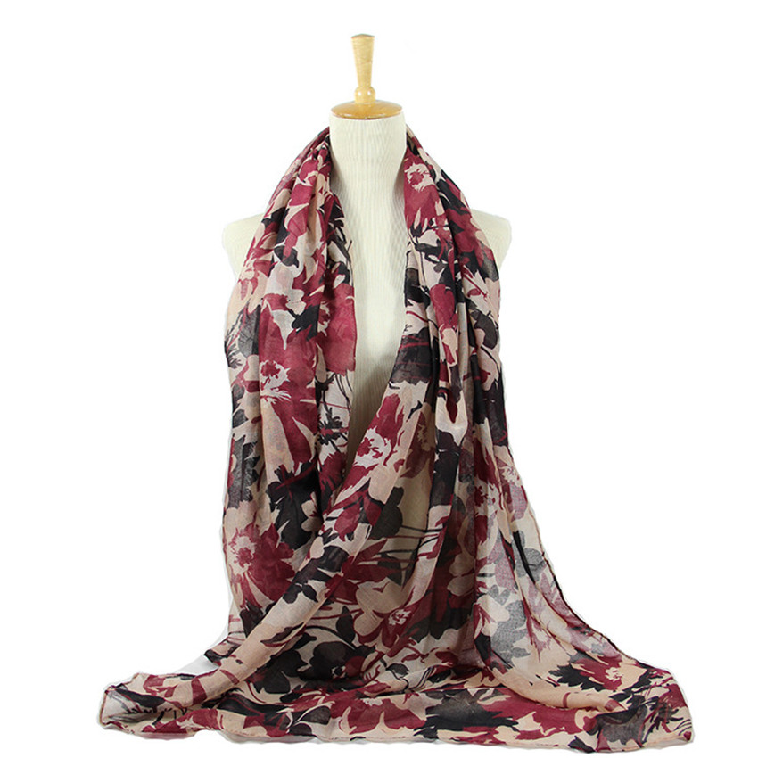 2020 Autumn Winter Retro Painting Floral Viscose Shawl Scarf Print Long Wrap Warm Stole Women Pashmina Poncho Muslim Hijab Snood
