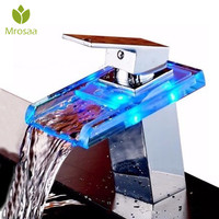 Best Deals LED Solid Glass Waterfall Faucet Hot Cold Mixer Sink Tap Temperature Control Light Tap Single Lever Bathroom Faucets