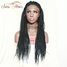 цена на Suri Hair Micro Box Braids Lace Front Black Synthetic Women Wig Heat Resistant Wig For African American 30inch