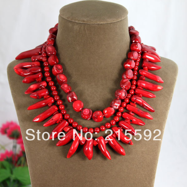 Free Shpping New Fashion Natural Red Coral Necklace Handmade Knitted Baroque Coral Jewelry Wedding Jewelry CN012