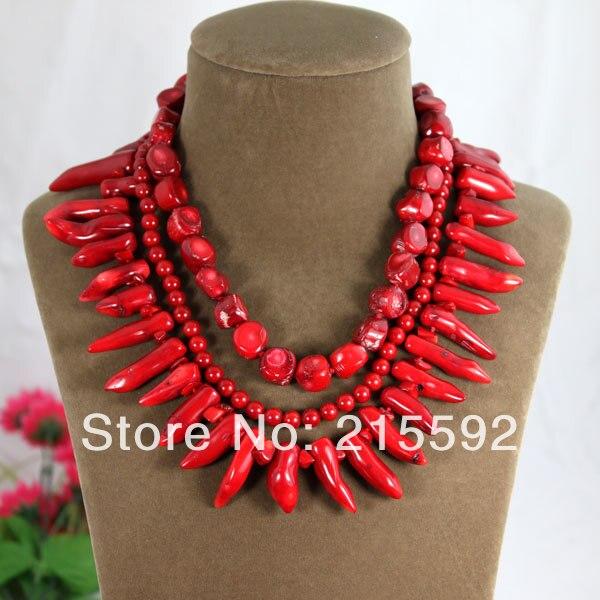 Livraison gratuite nouvelle mode naturel rouge corail collier à la main tricoté Baroque corail bijoux bijoux de mariage CN012