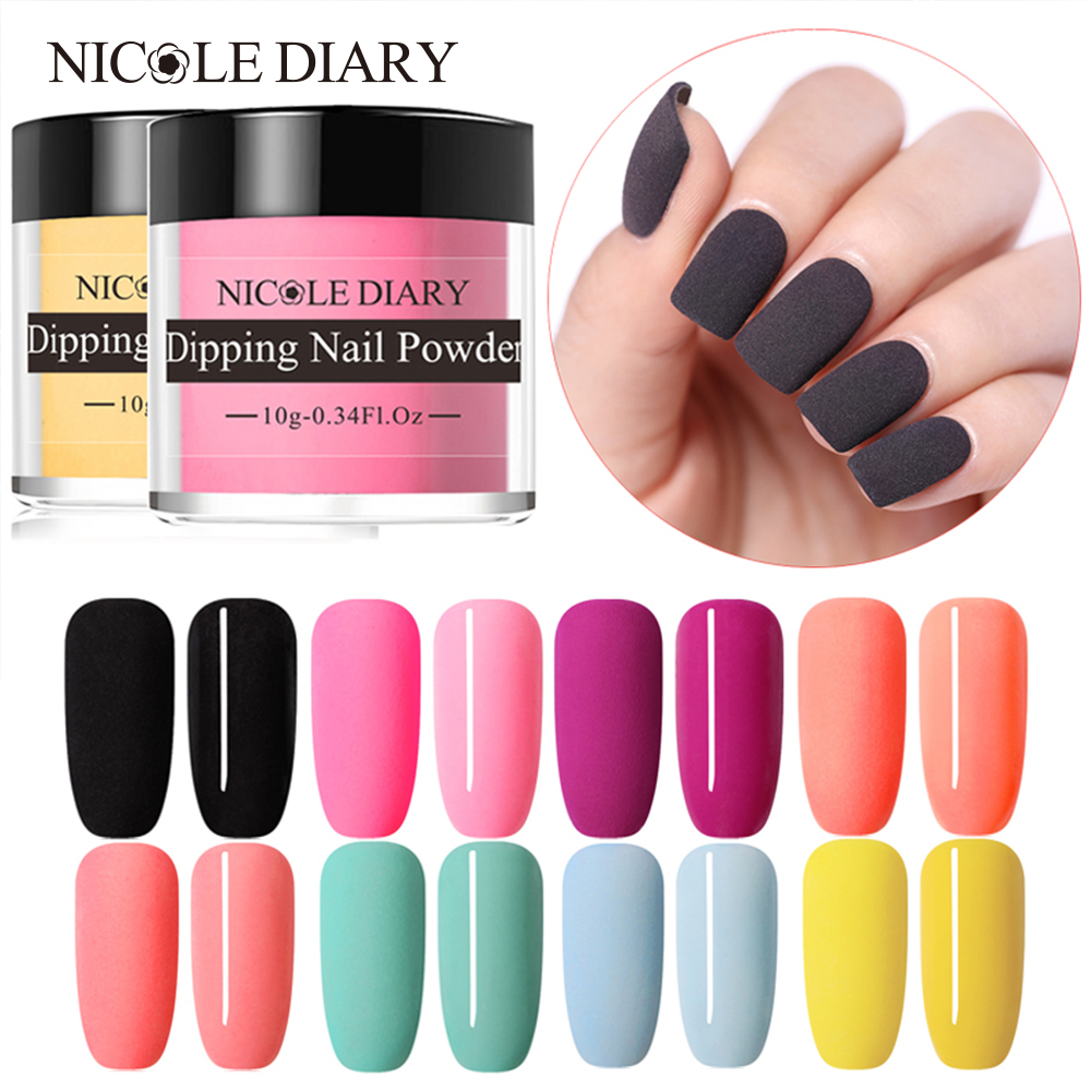 NICOLE DIARY 10g Matte Color Dipping Nail Powder Natural Dry Nail Art Decoration Without Lamp Cure Nail Dust Decors-in Nail Glitter from Beauty & Health