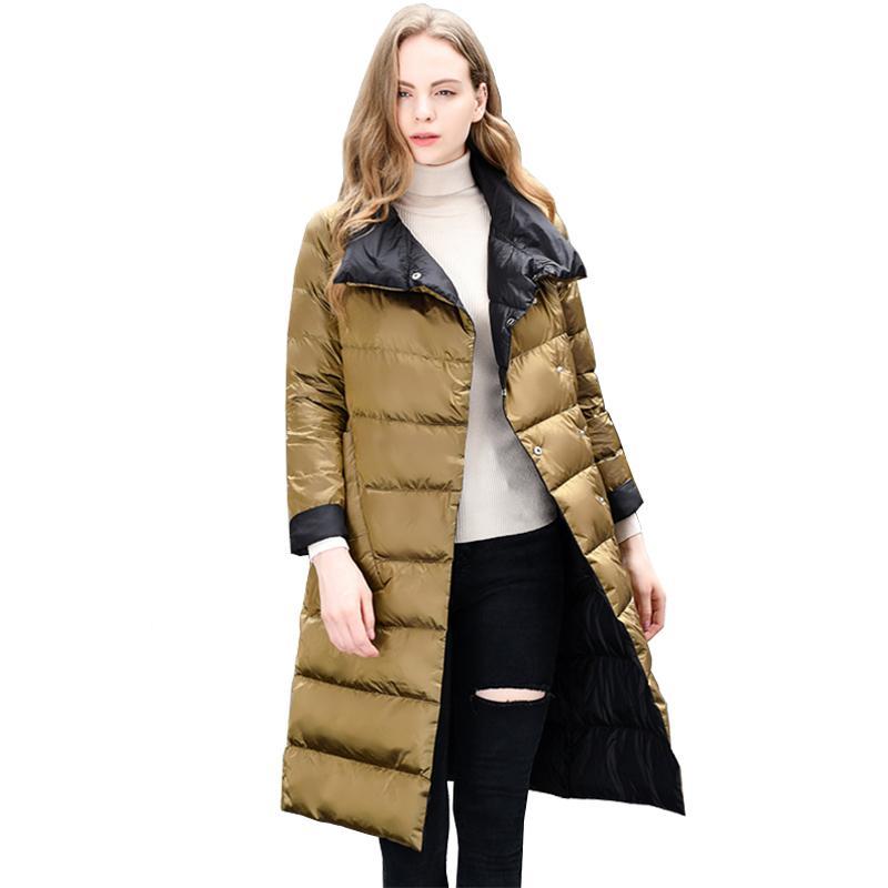 2018 Neue Frauen Winter Licht Dünne Unten Jacke Büro Dame 90% Doppelseitig Weiße Ente Unten Jacke Overknee Warme Weibliche Oberbekleidung Billigverkauf 50%