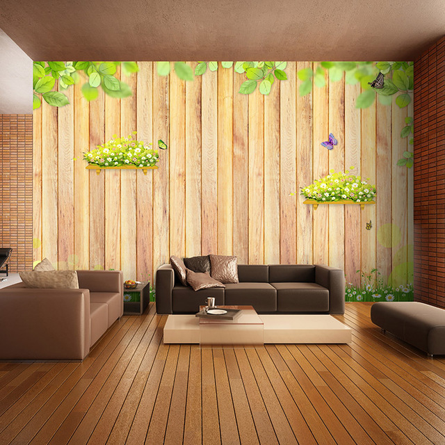 living room TV cabinet office Wallpaper a small fresh garden style ...