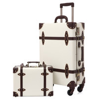 2019 Vintage Suitcase Carry On Luggage Hardside Rolling Spinner Retro Style for Travel