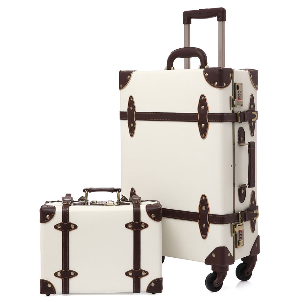 2019 valise vintage bagage à main Hardside roulant Spinner Style rétro pour voyage
