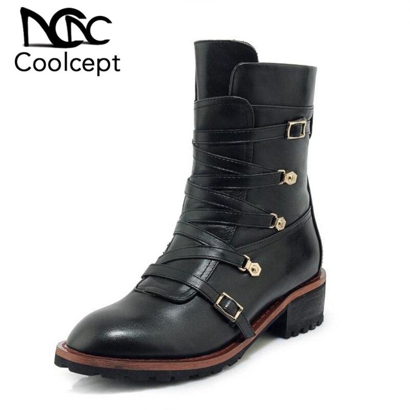 Coolcept 여자 발목 부츠 진짜 가죽 봉 제 모피 따뜻한 여자 신발 겨울 패션 짧은 부츠 숙 녀 신발 크기 33 40-에서앵클 부츠부터 신발 의  그룹 1
