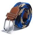 Hombres Mujeres Lienzo Tejido de Cuero Hebilla de Cinturón de Cintura Elástica Cintura Unisex de la Nueva Llegada