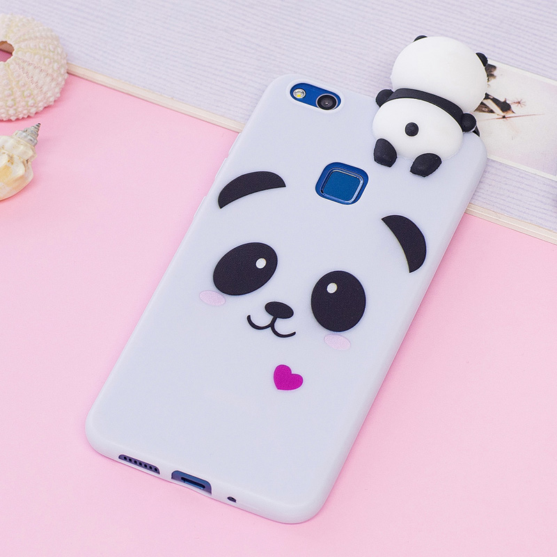 Galleria fotografica P10 Lite Kawaii 3D Cartoon Unicorn Panda Soft tpu Silicon Phone Case Cover For Coque Hawei Huawei P10 Lite Back hot Rubber Shell