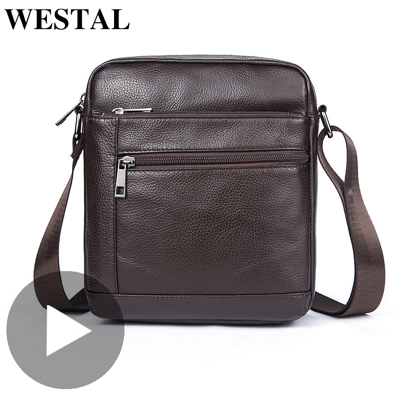 Westal Retro Shoulder Messenger Women Men Bag Genuine Leather Office Work Business Briefcase For Male Female Handbag Portafolio
