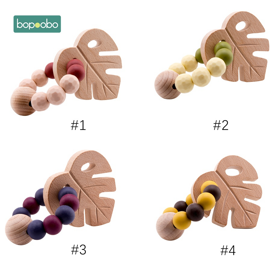 Bopoobo 1pc Baby Beech Leaf Rattle Toy Bracelet Teether Ring Crochet Wooden Bead Food Grade Silicone Teether Can Chew Baby Gifts