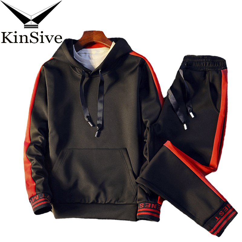2018 Men Sets Clothing Hoodies + Pants Two Piece Sweatsuit Casual Tracksuit Outfit Set Male Striped Sweatshirt Men Track Suit