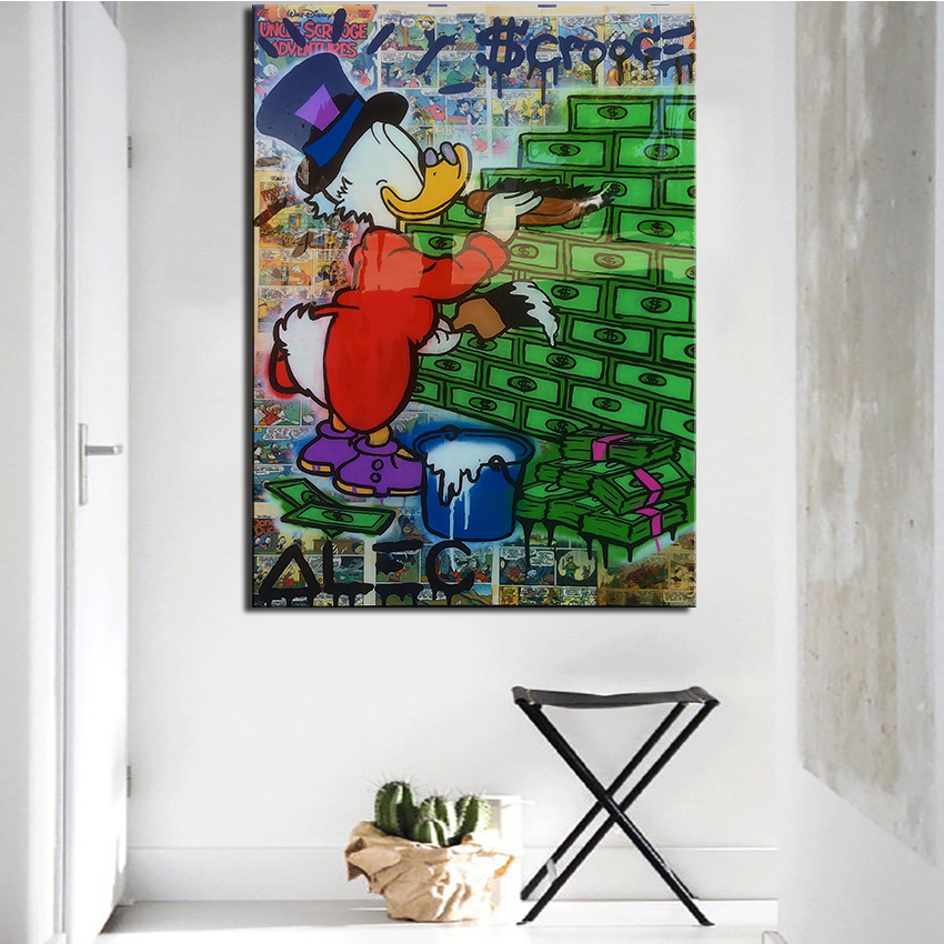 new fashion clean alec monopoly graffiti arts print canvas for wall art decoration oil painting wall