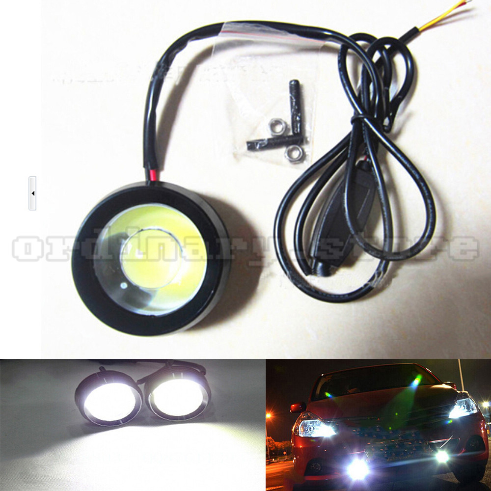 1 Pair Super Bright 18W Eagle Eye Hawkeye COB LED Car Headlight DRL Daytime Running Light Driving Fog Daylight Safety Head Lamp new arrival a pair 10w pure white 5630 3 smd led eagle eye lamp car back up daytime running fog light bulb 120lumen 18mm dc12v