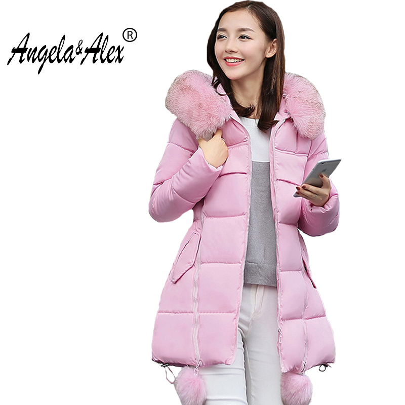 new Women's Thick Warm Long Winter Jacket Women Parka 2017 Faux Fur Collar Hooded Cotton Padded Winter Coat 5 color x long cotton padded jacket female faux fur hooded thick parka warm winter jacket women solid color wadded coat outerwear tt763