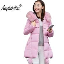 new Women s Thick Warm Long Winter Jacket Women Parka 2017 Faux Fur Collar Hooded Cotton